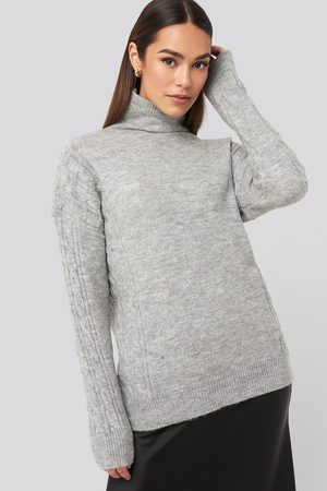 Trendyol Turtleneck Sleeve Detailed Knitted Sweater - Grey