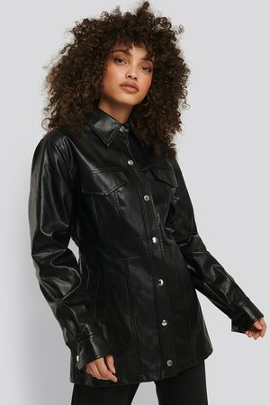 NA-KD Marked Waist PU Jacket - Black