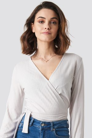 NA-KD Ribbed Wrap Tie Top - White