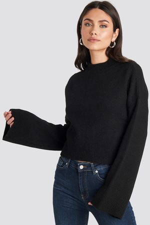 NA-KD Wide Sleeve Round Neck Knitted Sweater - Black