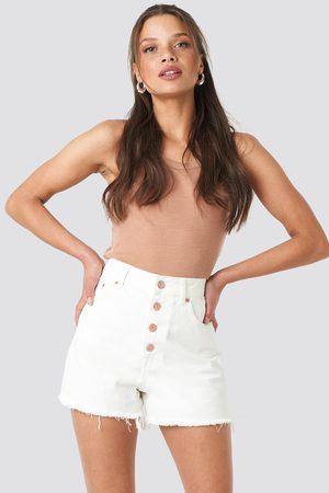 NA-KD High Waist Raw Hem Denim Shorts - White