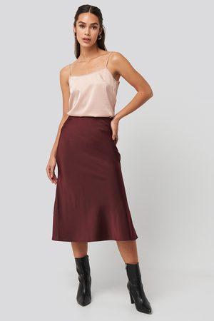 NA-KD Satin Skirt - Red