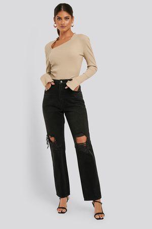 NA-KD Distressed Straight Jeans - Black,Grey