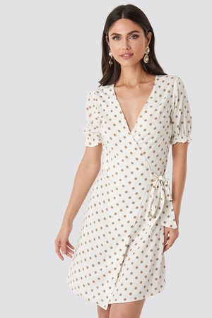 NA-KD Overlap Dotted Dress - White