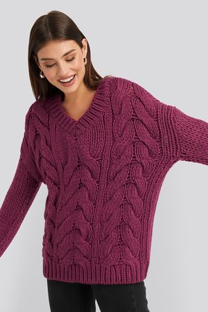 NA-KD Wool Blend V-Neck Heavy Knitted Cable Sweater - Purple