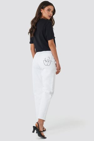 NA-KD Pocket Embroidered Jeans - White