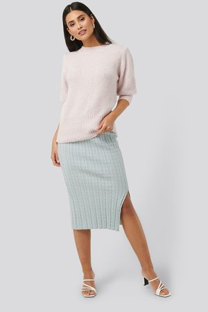 NA-KD Knitted Pencil Skirt - Blue