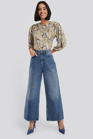 NA-KD Straight Fit Cropped Jeans - Blue