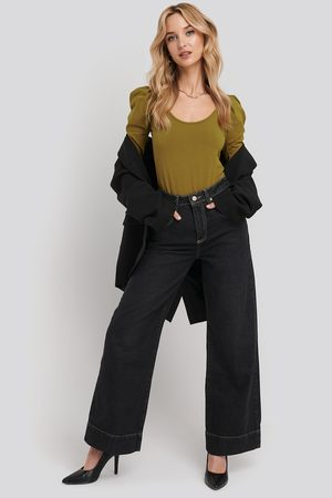 Trendyol Stitching High Waist Wide Leg Jeans - Black