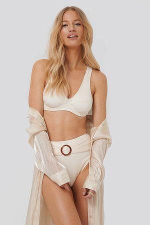 NA-KD Ribbed High Waist Buckle Bikini Panty - White
