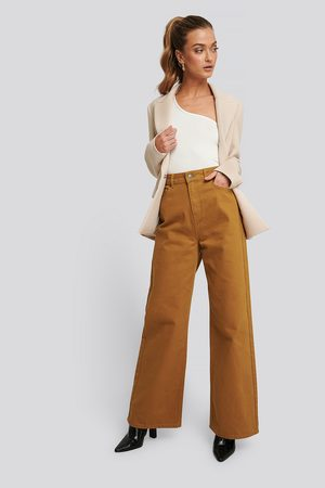 NA-KD Wide Leg High Waisted Jeans - Brown