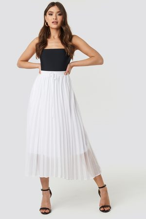 NA-KD Drawcord Pleated Midi Skirt - White