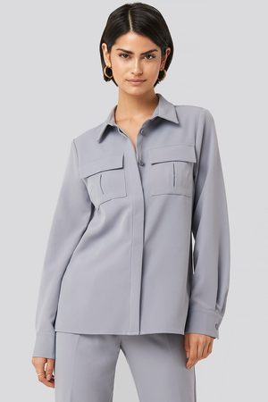 NA-KD Straight Fitted Overshirt - Blue