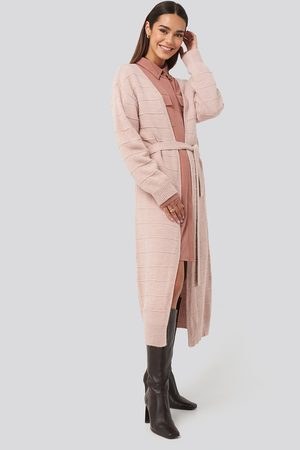 NA-KD Belted Long Cardigan - Pink