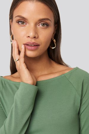 NA-KD Boat Neck Fitted Top - Green