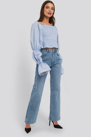 NA-KD Mid Rise Straight Leg Jeans - Blue