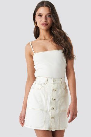 NA-KD Contrast Stitch Button Up Mini Skirt