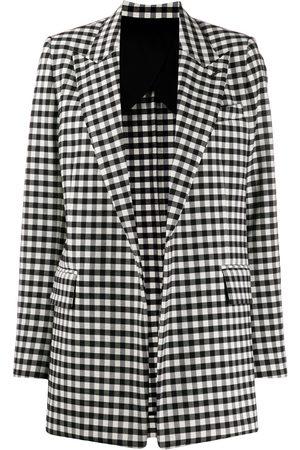 Ami Gingham buttonless long blazer
