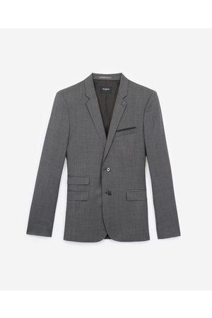 The Kooples Formal grey wool jacket with micro motif