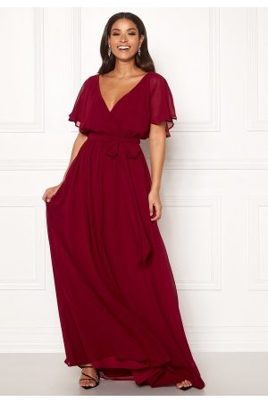 Goddiva Flutter Chiffon Dress Berry S (UK10)