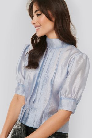 NA-KD Structured Organza Gathered Blouse - Blue