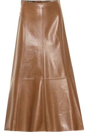 Loro Piana Jeane leather midi skirt