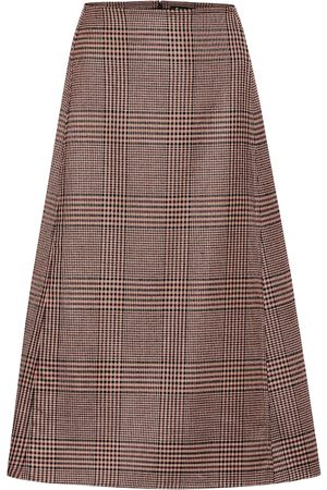 Loro Piana Checked stretch-wool midi skirt