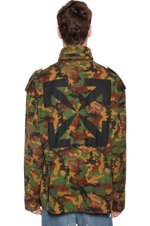 OFF-WHITE Logo Print Camo Padded Canvas Jacket