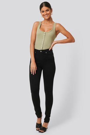 NA-KD Skinny High Waist Open Hem Jeans Tall - Black