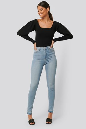 NA-KD Skinny High Waist Open Hem Jeans Tall - Blue