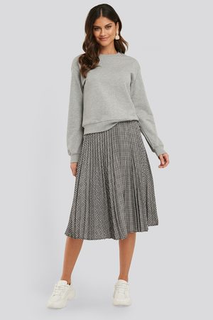 NA-KD Plaid Pleated Midi Skirt - Grey