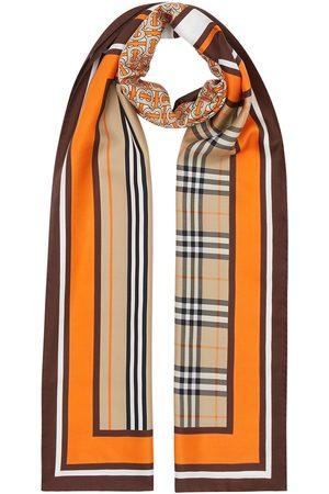 Burberry Naiset Huivit - Monogram Icon stripe and check print silk scarf