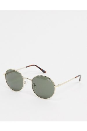 Quay Australia Modstar round sunglasses in gold with green lens
