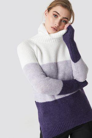 Trendyol Naiset Neulepaidat - Color Blocked High Neck Sweater - Multicolor