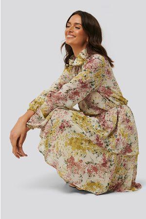 NA-KD High Frill Neck Dress - Multicolor