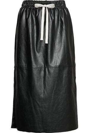 Designers Remix Naiset Nahkahameet - Leather Free Leather Skirt With Elasticated Waist Polvipituinen Hame