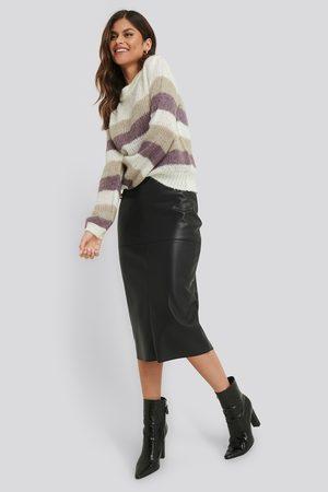 NA-KD Naiset Nahkahameet - Midi PU Skirt - Black