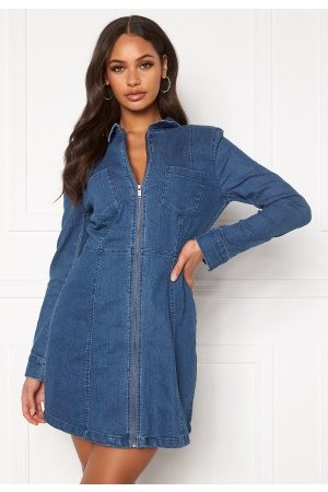 Noisy May Lisa Denim Zip Dress Medium Blue Denim L