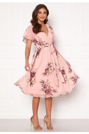 Goddiva Flutter Floral Midi Dress Peach S (UK10)