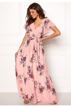 Goddiva Flutter Floral Maxi Dress Peach S (UK10)