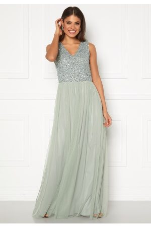 Angeleye Sequin Bodice V-Neck Maxi Dress Lily XL (UK16)