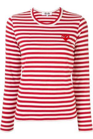 Comme des Garçons Striped logo-patch T-shirt
