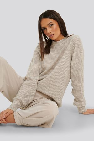 NA-KD Naiset Neulepaidat - Crew Neck Knitted Sweater - Grey