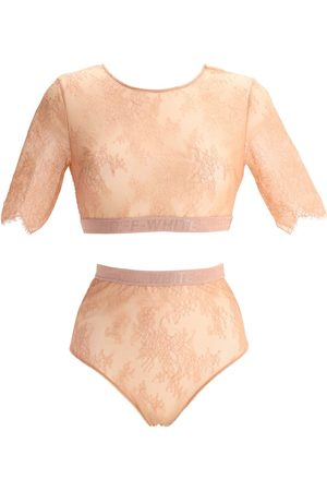 OFF-WHITE Cropped Lace Lingerie Set