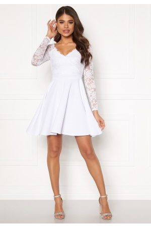 Goddiva Naiset Rennot Mekot - Long Sleeve Skater Dress White XXS (UK6)