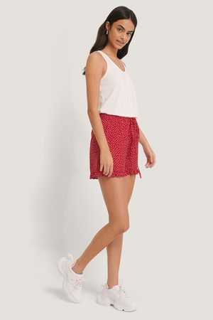 NA-KD Dotted Frill Hem Shorts - Red
