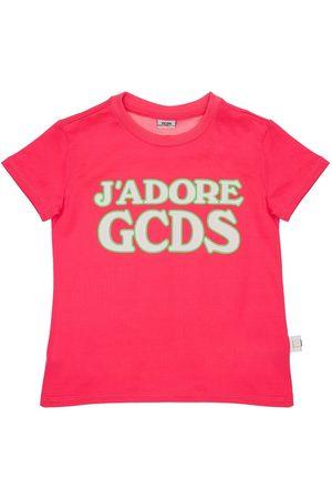 GCDS Rubberized Logo Cotton Jersey T-shirt