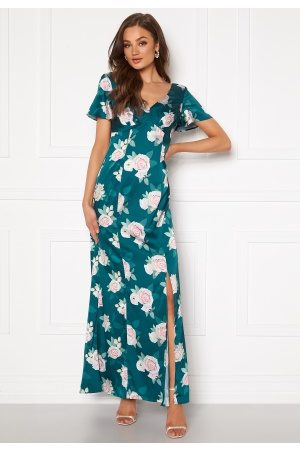 Chi Chi London Meadow Floral Maxi Dress Teal XL (UK16)