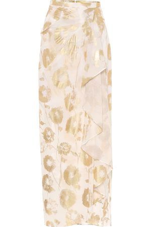 Halpern Naiset Midihameet - Floral cotton-voile wrap skirt