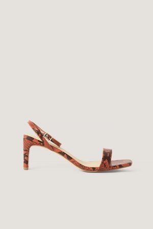 NA-KD Snake Basic Block Heel Sandals - Red